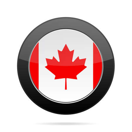shiny black: National flag of Canada. Shiny black round button with shadow. Illustration
