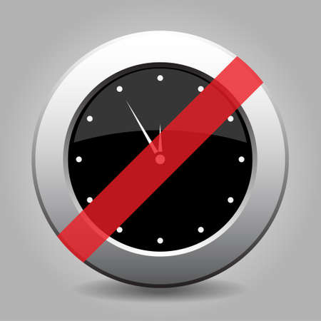 interdict: Black and gray metallic button with shadow. White last minute clock banned icon.
