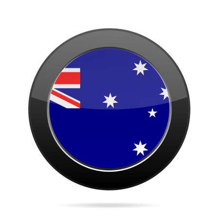 shiny black: National flag of Australia. Shiny black round button with shadow.