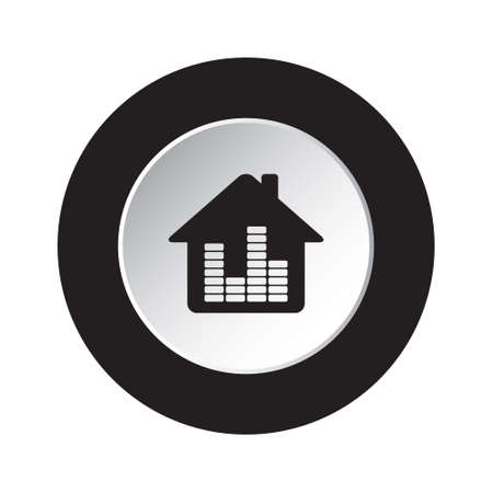 black and white: isolated round black and white button - black house with equalizer icon Illustration