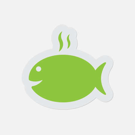 simple green icon with light gray contour and shadow - grilling fish with smoke on a white background
