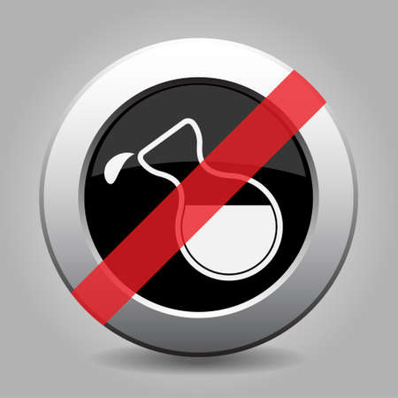 metallic button: Black and gray metallic button with shadow. White flask with a drop banned icon.