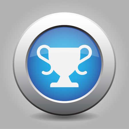 metallic button: Blue metallic button with shadow. White sports cup icon. Illustration