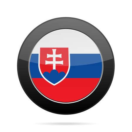 shiny black: National flag of Slovakia. Shiny black round button with shadow.