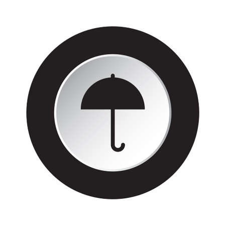 brolly: isolated round black and white button with black umbrella icon