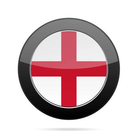 shiny black: National flag of England. Shiny black round button with shadow. Illustration