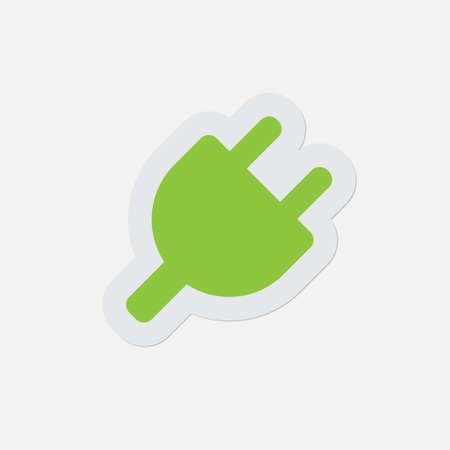 simple green icon with light gray contour and shadow - electrical plug symbol