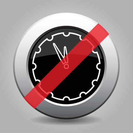 metallic button: black and gray metallic button with shadow - white last minute clock banned icon