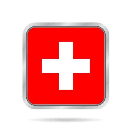 neutrality: National flag of Switzerland. Shiny metallic gray square button with shadow.