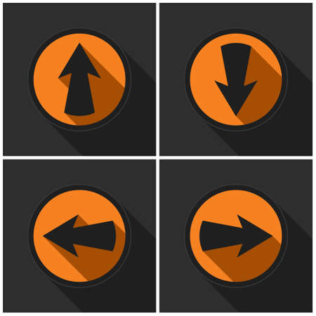 Four orange round - black arrows in four directions with shadows on a dark gray background.
