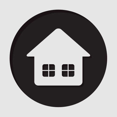 windows home: information icon - black circle, white home with two windows and shadow Illustration