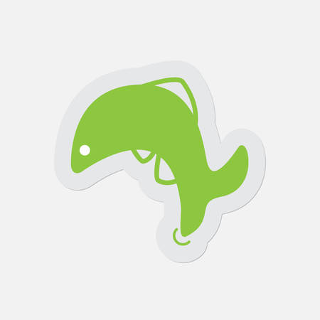 jumping fish: simple green icon with light gray contour and shadow - jumping fish, dolphin on a white background