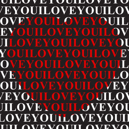 inverse: I love you - seamless wrapping paper with text and big red heart