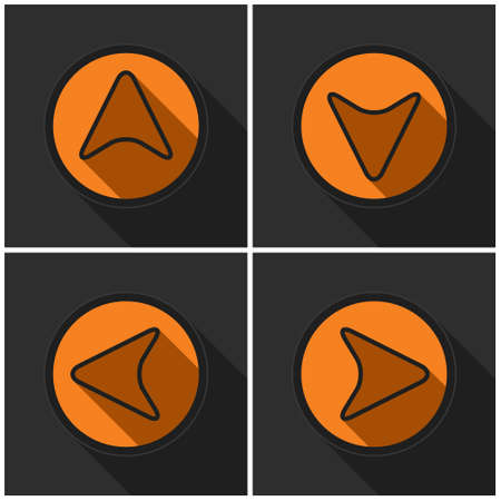 direct: Four orange round. Black arrows in four directions with shadows on a dark gray background. Illustration