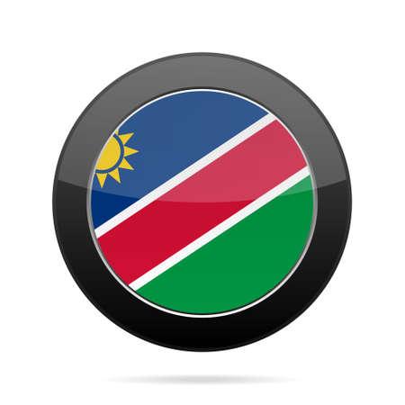 shiny black: National flag of Namibia. Shiny black round button with shadow. Illustration