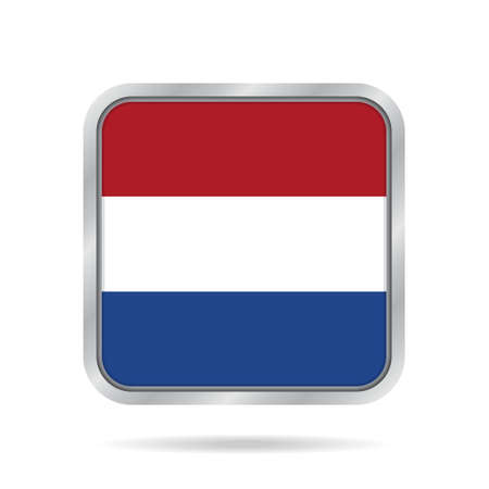National flag of Netherlands. Shiny metallic gray square button with shadow.