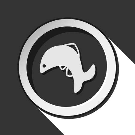 black and white round - jumping fish, dolphin icon with long shadow