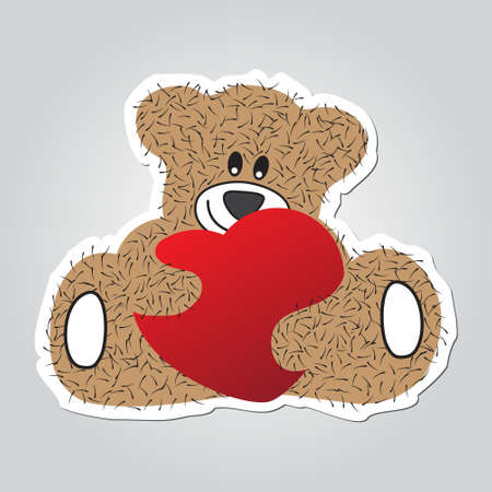 hairy legs: Sticker cartoon illustration - sitting and smiling brown, furry bear with red heart in the hands. White outline with shadow.
