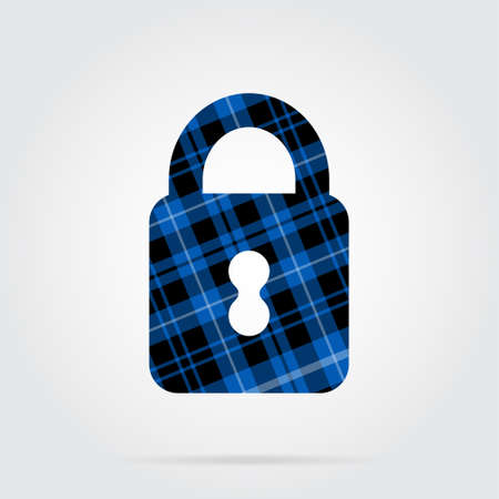 blue, black isolated tartan icon with white stripes - closed padlock and shadow in front of a gray background