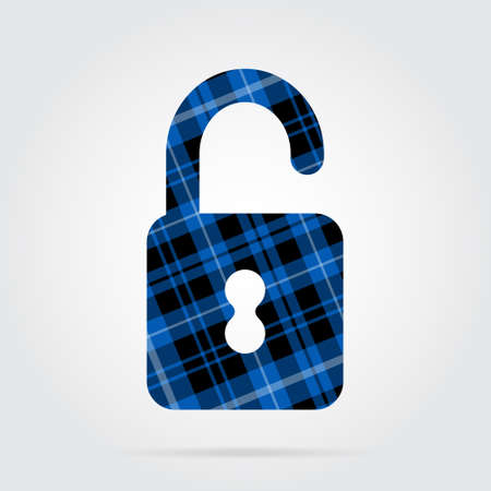 blue, black isolated tartan icon with white stripes - open padlock and shadow in front of a gray background