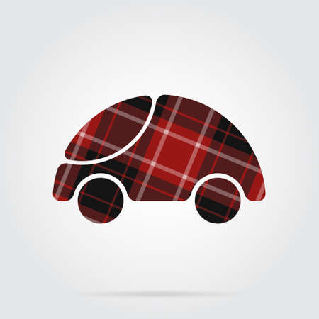 red, black isolated tartan icon with white stripes - cute rounded car and shadow in front of a gray background