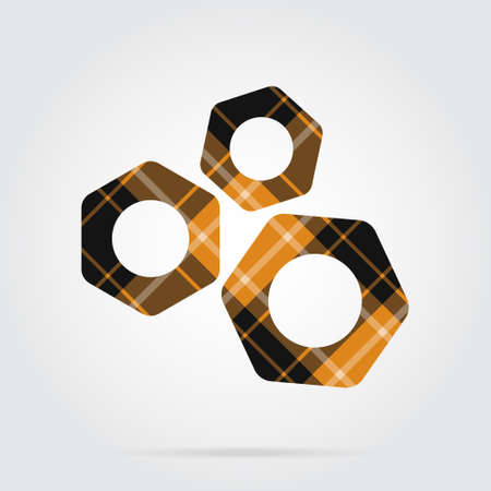 yellow, black isolated tartan icon with white stripes - three nuts and shadow in front of a gray background Illustration
