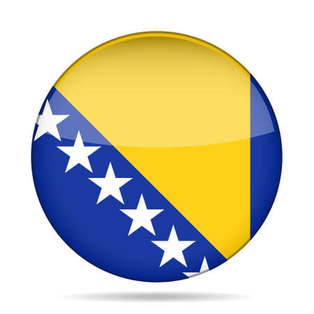 National flag of Bosnia and Herzegovina. Shiny round button with shadow. Illustration
