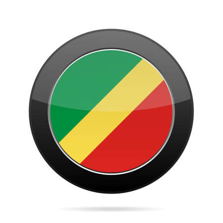 shiny black: National flag Republic of Congo. Shiny black round button with shadow.