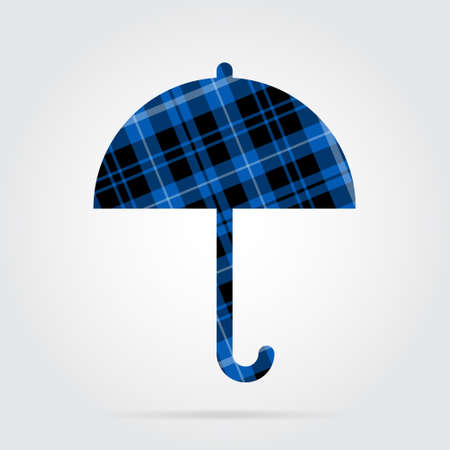 brolly: blue, black isolated tartan icon with white stripes - umbrella and shadow in front of a gray background