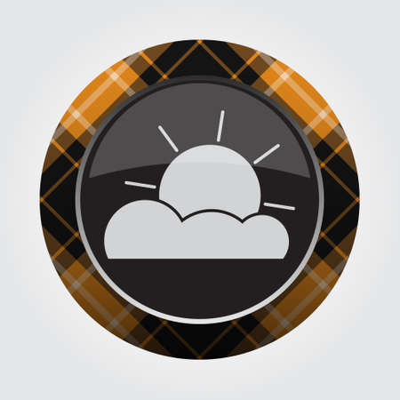 black isolated button with orange, black and white tartan pattern on the border - light gray partly cloudy weather icon in front of a gray background