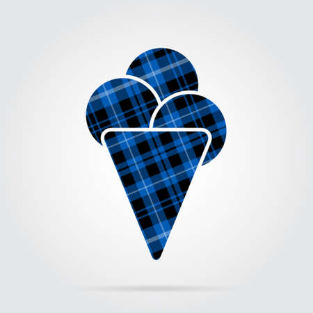 blue, black isolated tartan icon with white stripes - ice cream with three scoops and shadow in front of a gray background