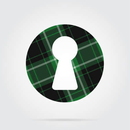 green, black isolated tartan icon with white stripes - keyhole and shadow in front of a gray background