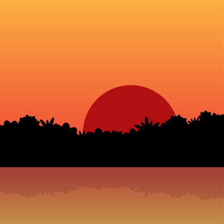 red sunrise in the jungle - with reflection in water