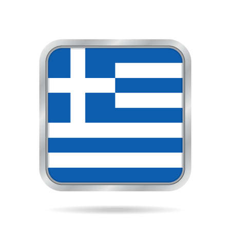 National flag of Greece. Shiny metallic gray square button with shadow. Illustration