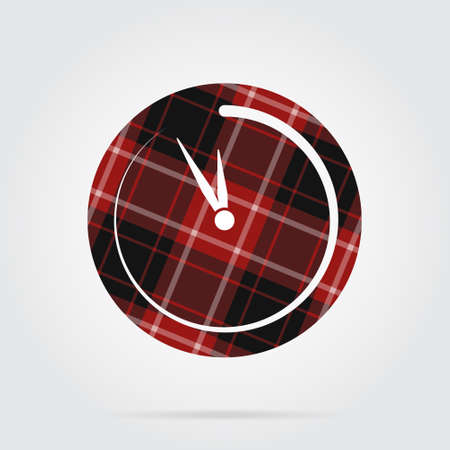 Red, black isolated tartan icon with white stripes - last minute clock and shadow in front of a gray background Illustration