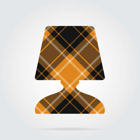 orange, black isolated tartan icon with white stripes - bedside table lamp and shadow in front of a gray background Illustration