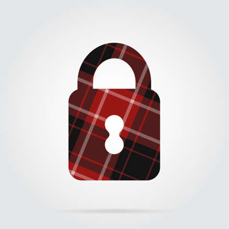 red, black isolated tartan icon with white stripes - closed padlock and shadow in front of a gray background