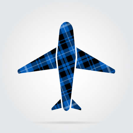 blue, black isolated tartan icon with white stripes - airplane and shadow in front of a gray background