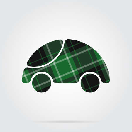 green, black isolated tartan icon with white stripes - cute rounded car and shadow in front of a gray background Illustration