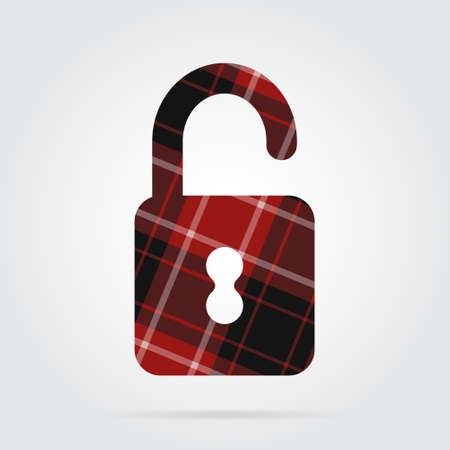 red, black isolated tartan icon with white stripes - open padlock and shadow in front of a gray background