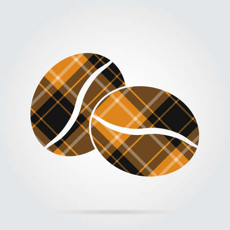 orange, black isolated tartan icon with white stripes - two coffee beans and shadow in front of a gray background