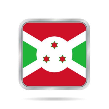 National flag of Burundi. Shiny metallic gray square button with shadow. Illustration