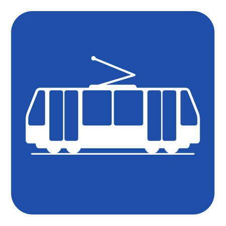Blue rounded square information road sign with white tram, streetcar icon