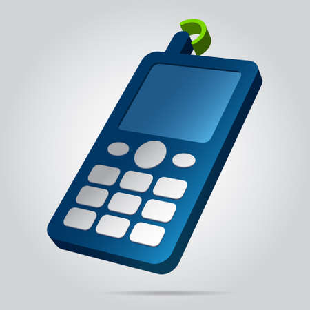 three dimensional illustration - blue old mobile phone, white buttons, display, antenna with green signal and shadow in front of a gray background