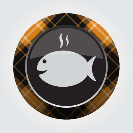 black isolated button with orange, black and white tartan pattern on the border - light gray grilling fish with smoke icon in front of a gray background Illustration