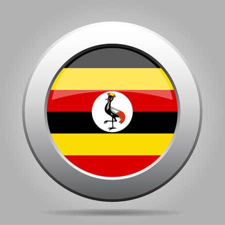 National flag of Uganda. Shiny metal gray round button with shadow. Illustration