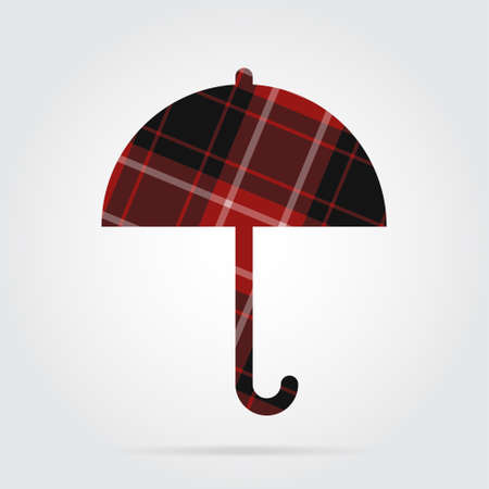 brolly: red, black isolated tartan icon with white stripes - umbrella and shadow in front of a gray background