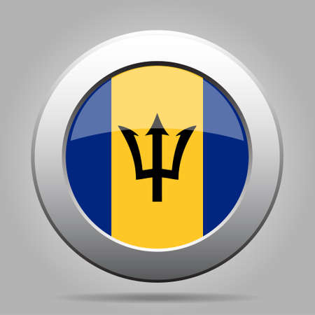National flag of Barbados. Shiny metal gray round button with shadow. Illustration