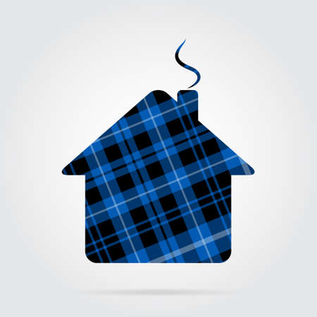 blue, black isolated tartan icon with white stripes - house, chimney and shadow in front of a gray background