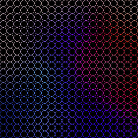 abstract illustration - small blue, red, pink and gray circles in front of a black background